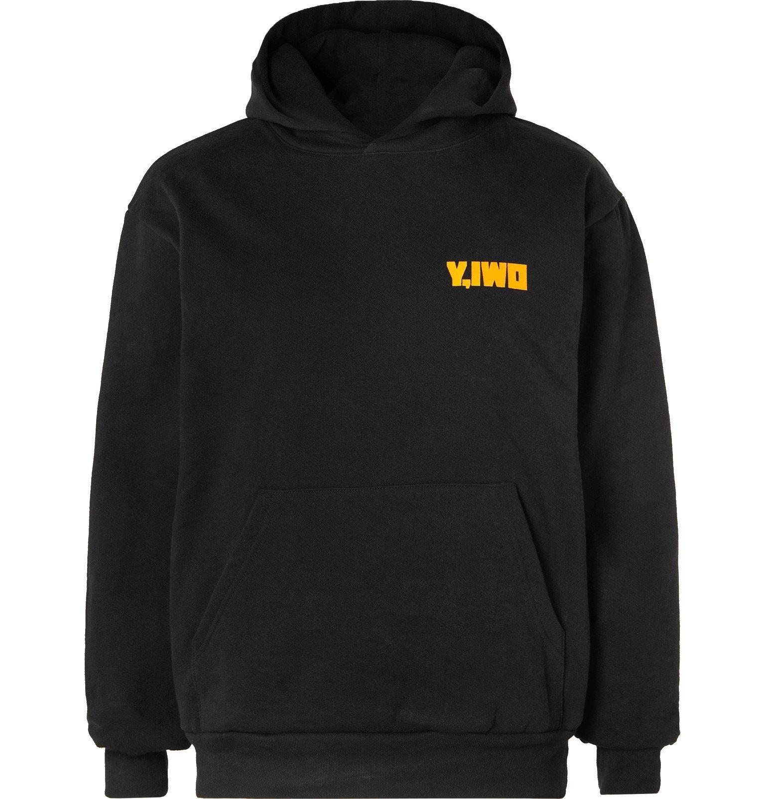 Photo: Y,IWO - Printed Fleece-Back Cotton-Jersey Hoodie - Black