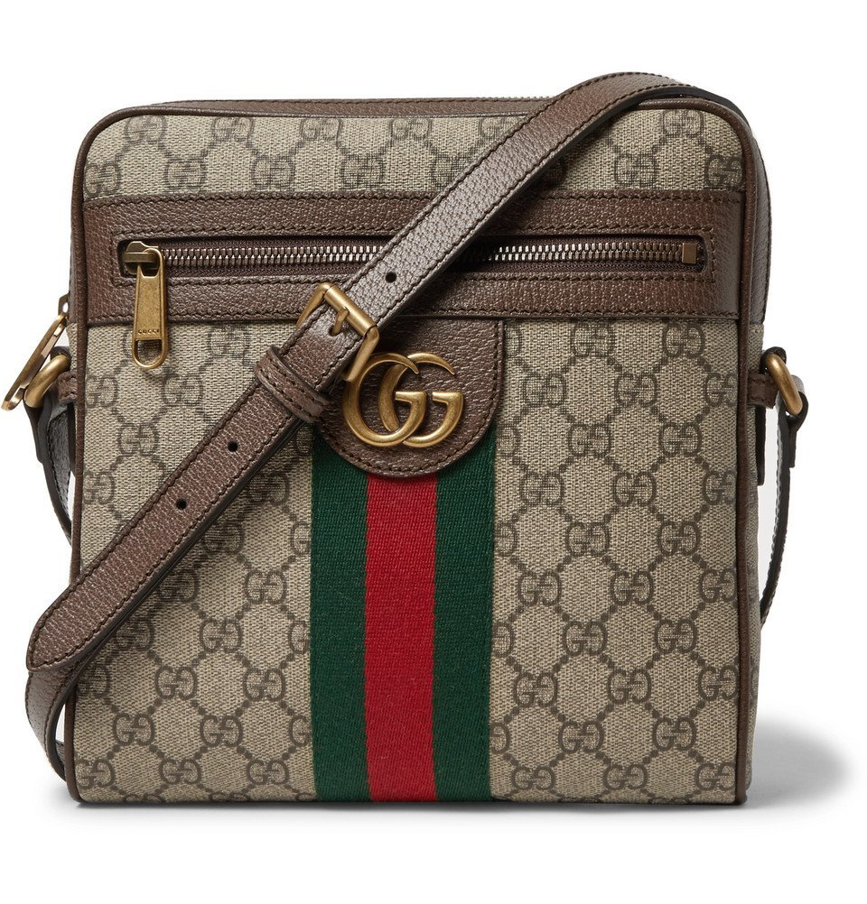 Photo: Gucci - Ophidia Leather-Trimmed Monogrammed Coated-Canvas Messenger Bag - Beige