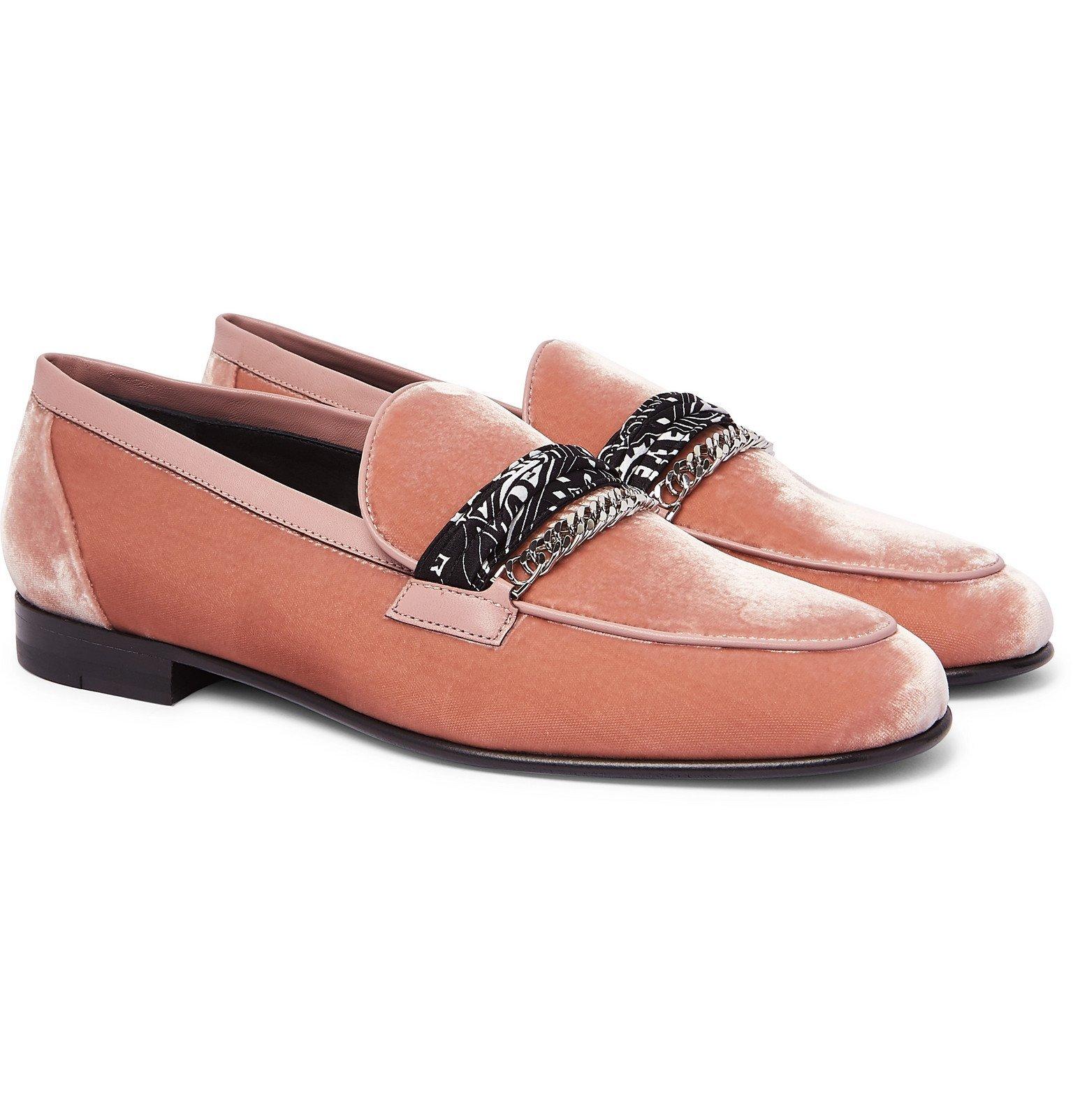 Photo: AMIRI - Embellished Leather-Trimmed Cotton-Velvet Loafers - Pink