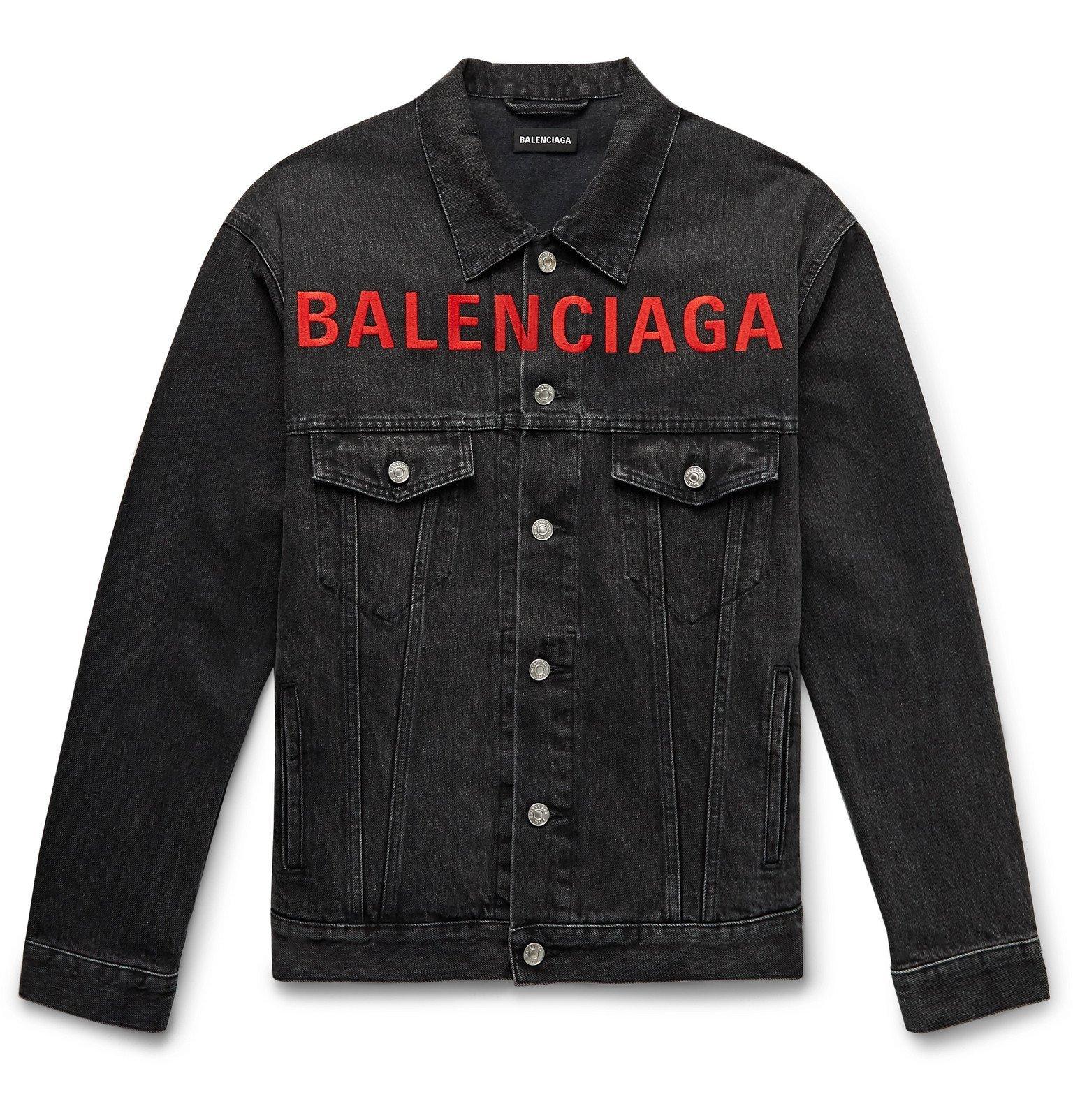 Photo: Balenciaga - Logo-Embroidered Denim Jacket - Black