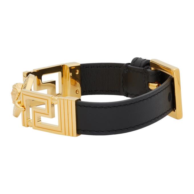 Versace Black Greek Key Strap Bracelet