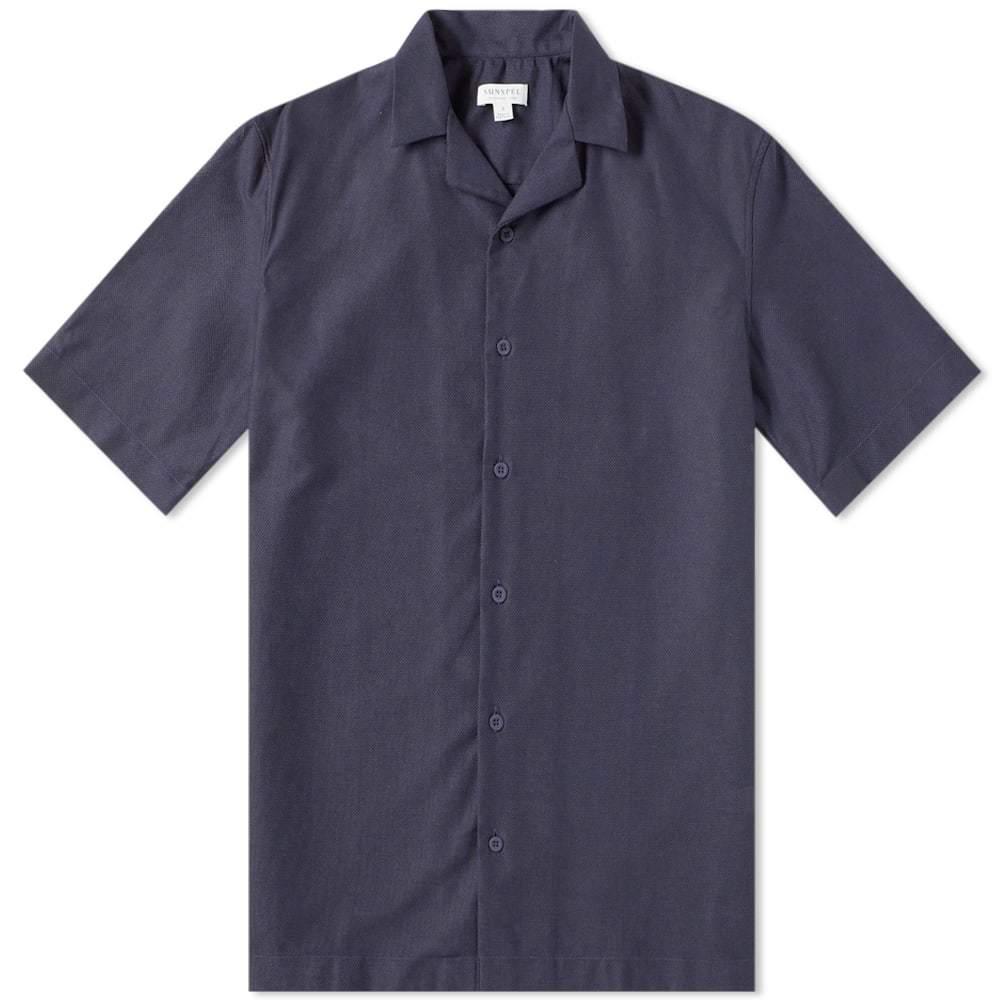 Sunspel Cotton Camp Collar Short Sleeve Shirt Navy