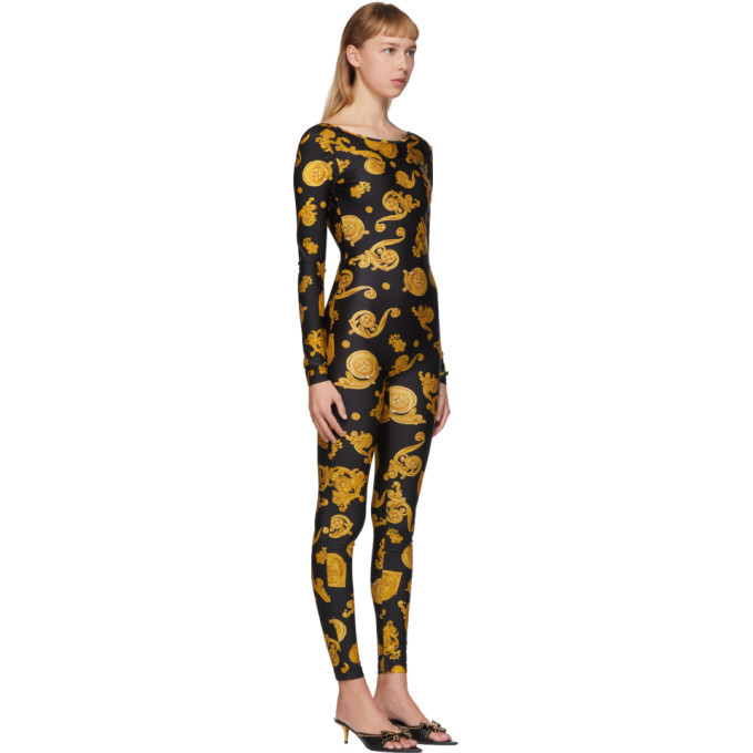 Versace Jeans Couture Black Barocco Jewels Jumpsuit