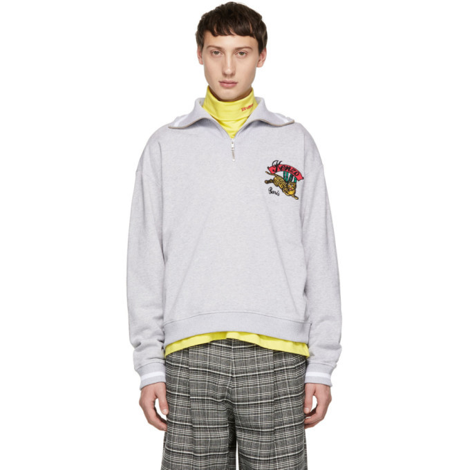 Photo: Kenzo Grey Jumping Tiger Zip Sweatshirt