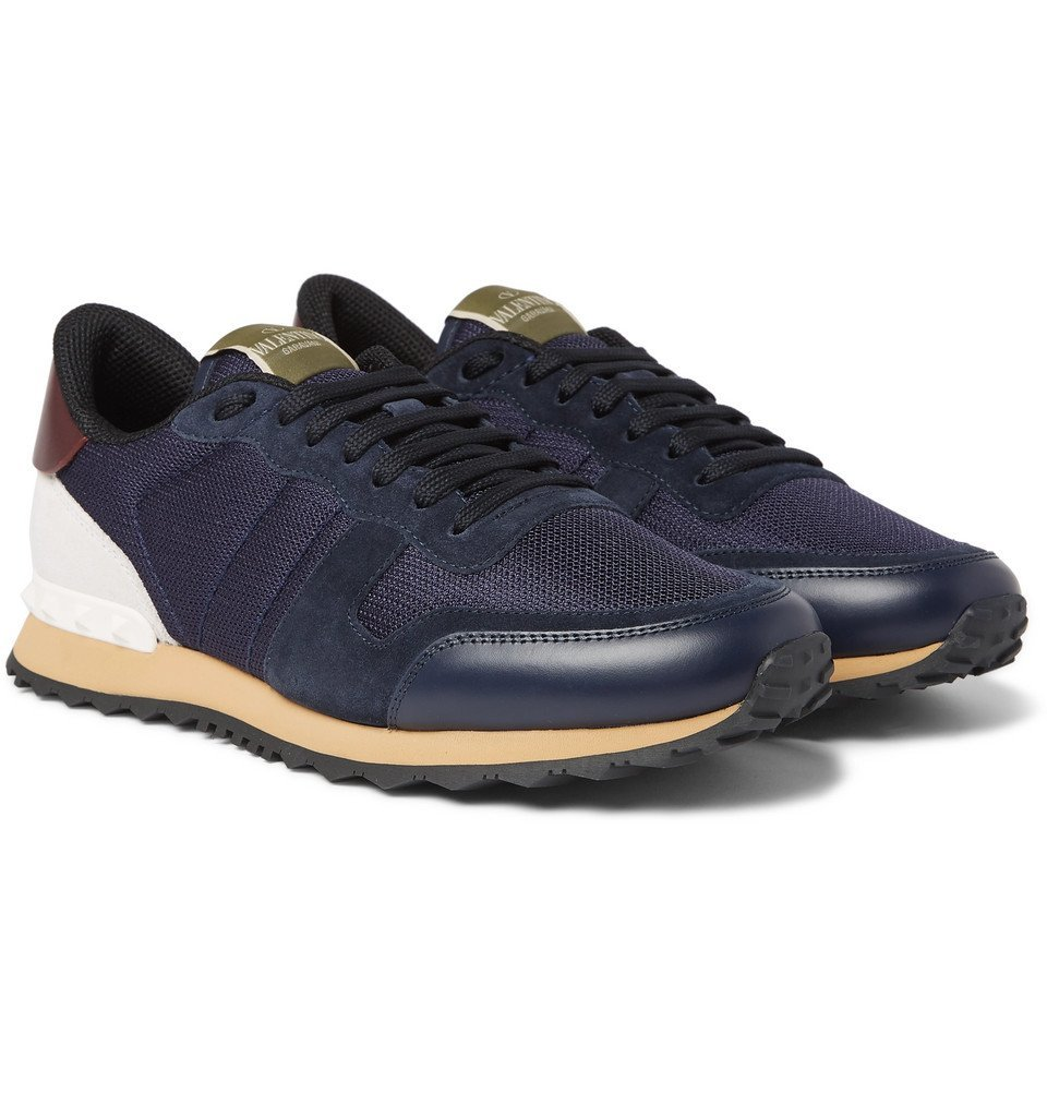 Photo: Valentino - Valentino Garavani Rockrunner Mesh, Leather and Suede Sneakers - Navy