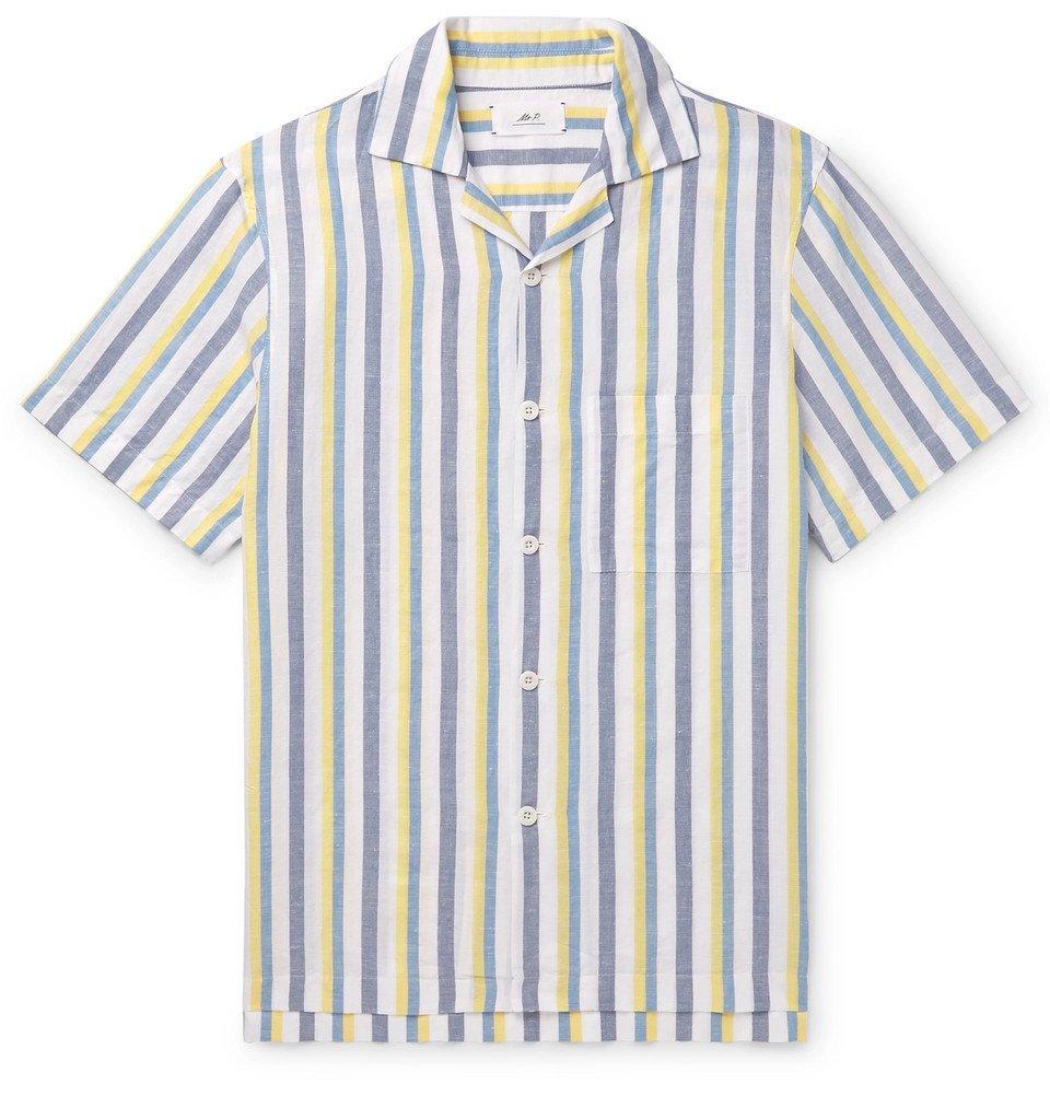Photo: Mr P. - Camp-Collar Striped Linen and Cotton-Blend Shirt - Multi