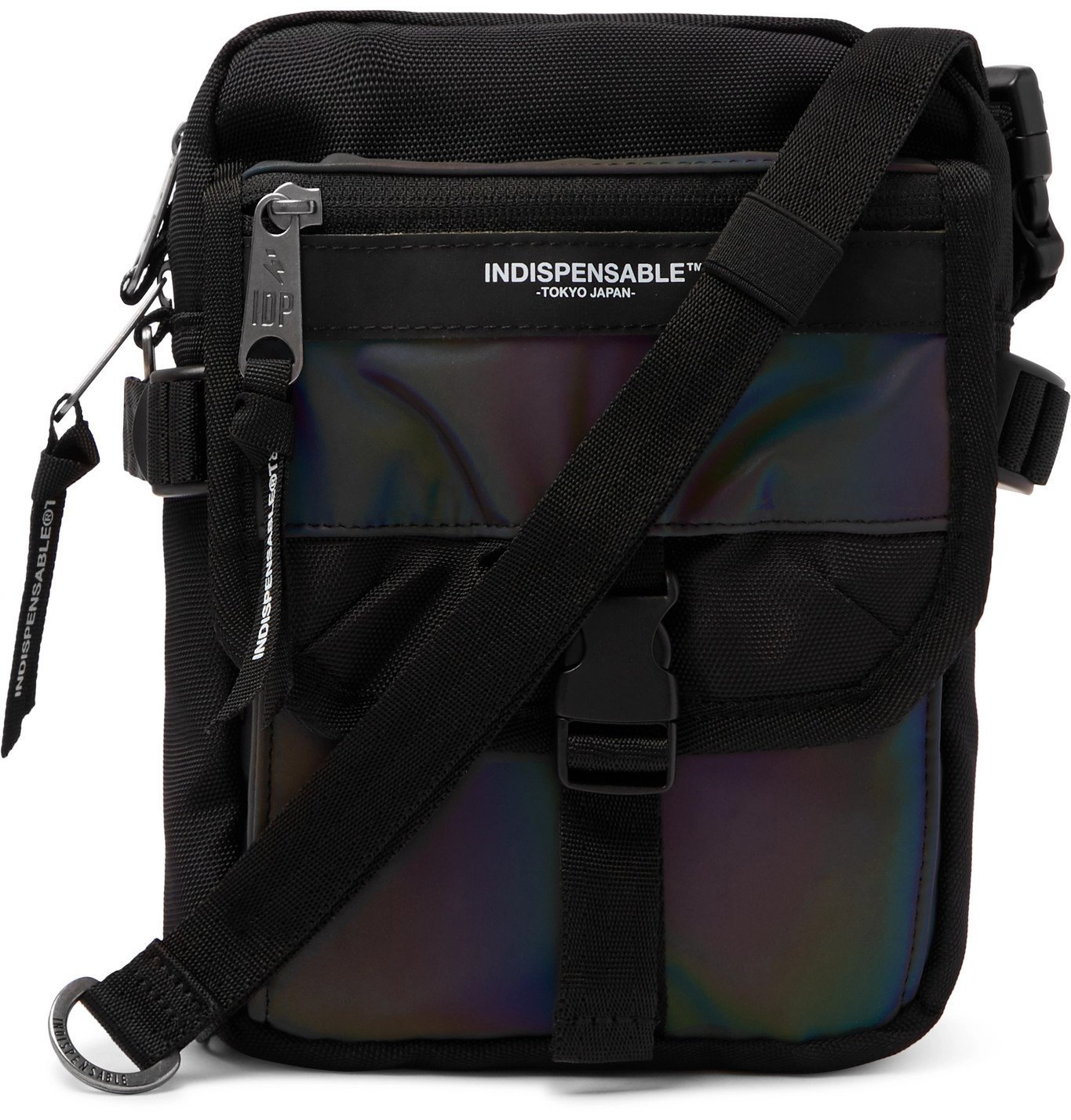 Photo: Indispensable - Buddy Iridescent Shell and Canvas Messenger Bag - Black