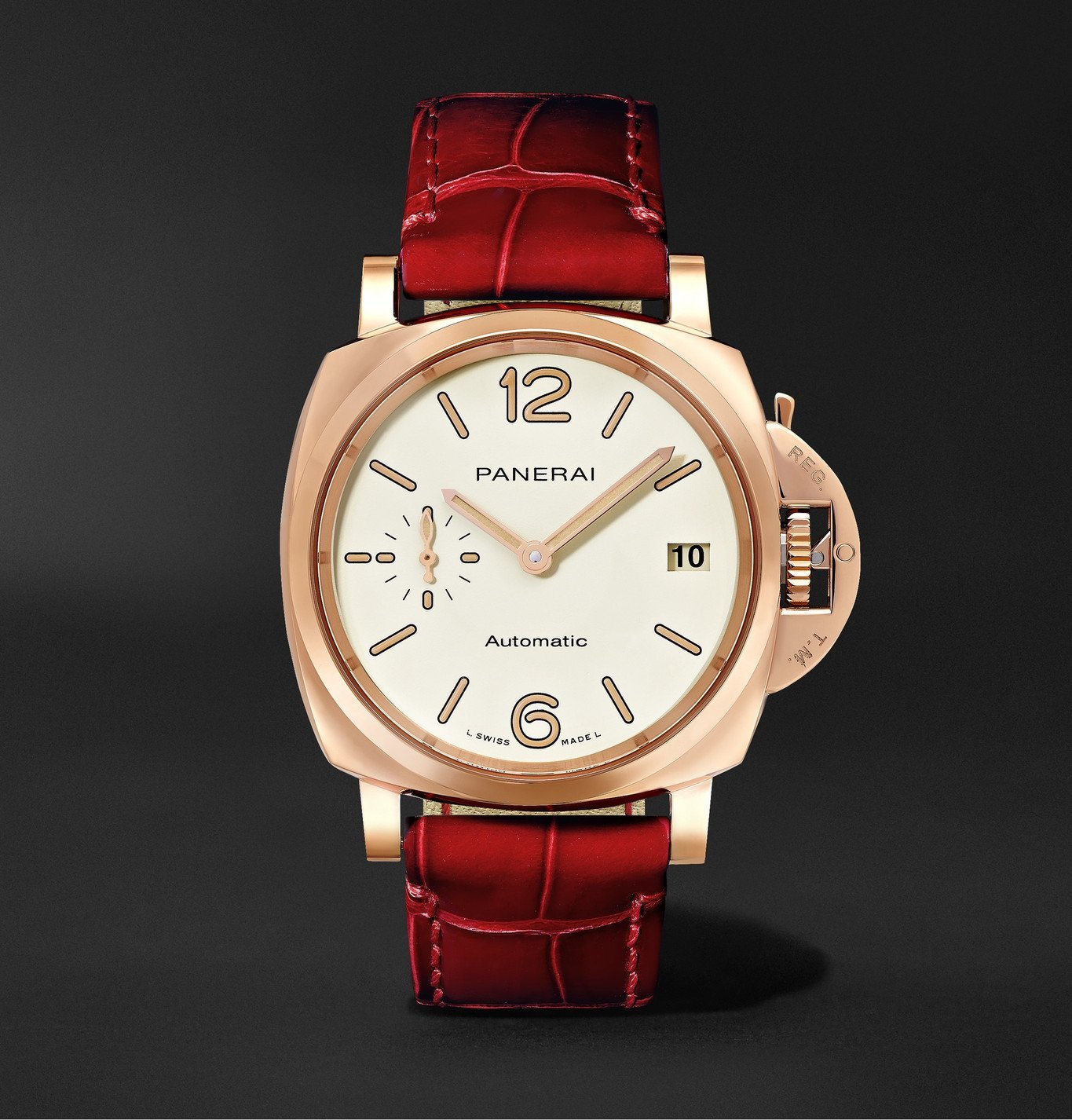 Photo: Panerai - Luminor Due Automatic 38mm Goldtech and Alligator Watch - Red