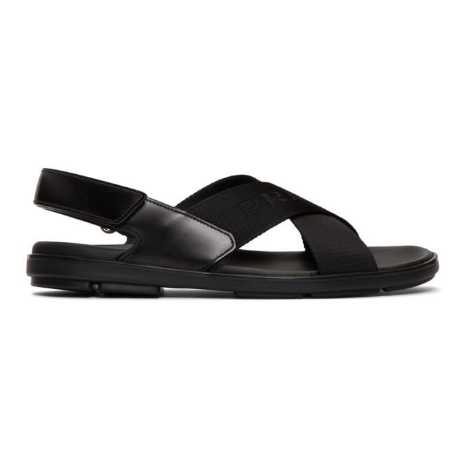 Photo: Prada Black Logo Tape Ankle Strap Sandals