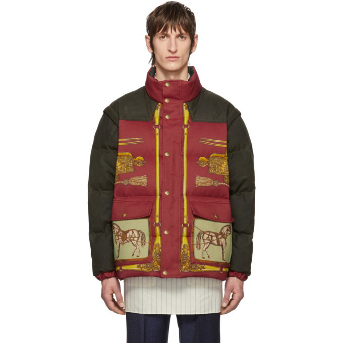 Photo: Gucci Red and Green Down Baroque Gillet Jacket