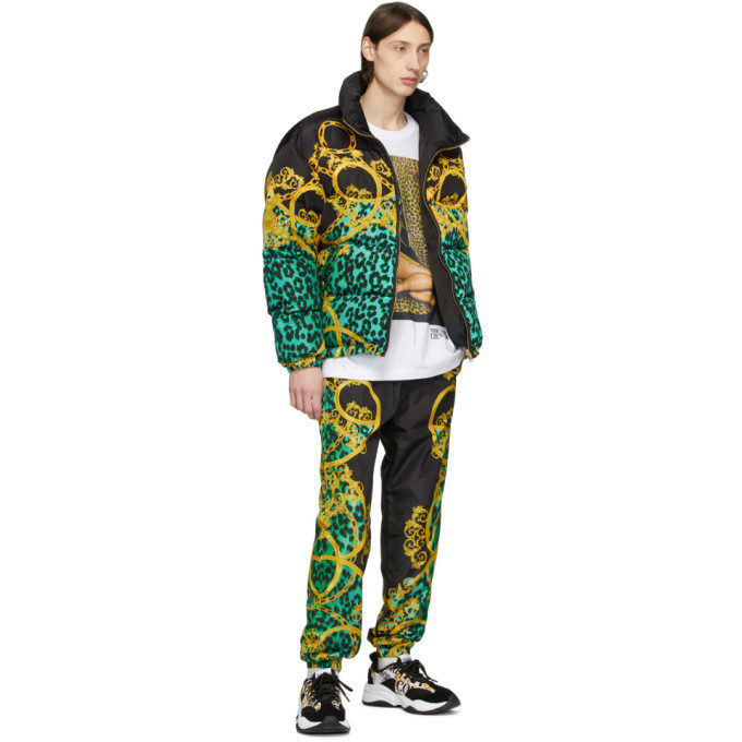 Versace Jeans Couture Black and Green Leo Chain Track Pants