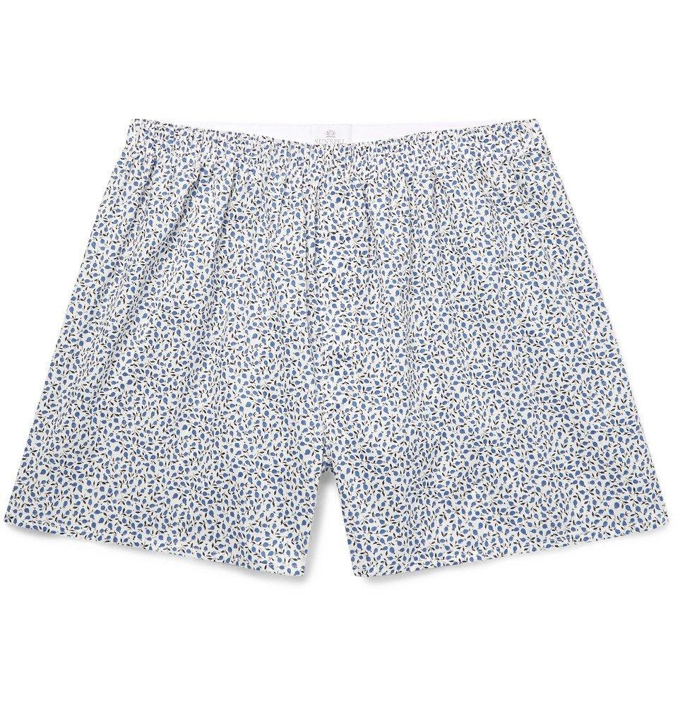 Sunspel - Printed Cotton Boxer Shorts - Men - Blue