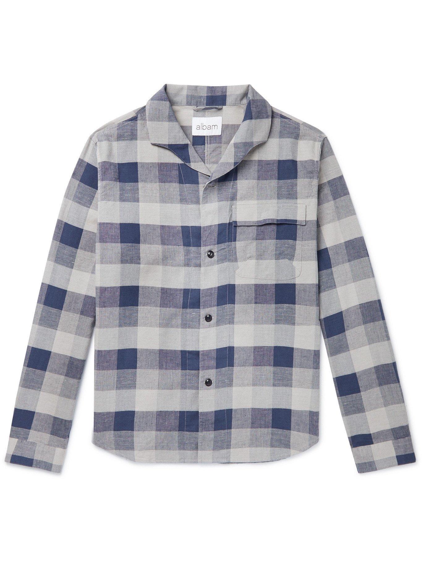 Photo: Albam - Miles Camp-Collar Checked Cotton-Blend Shirt - Blue