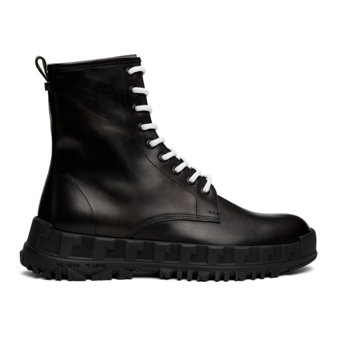 Photo: Versace Black Leather Combat Boots