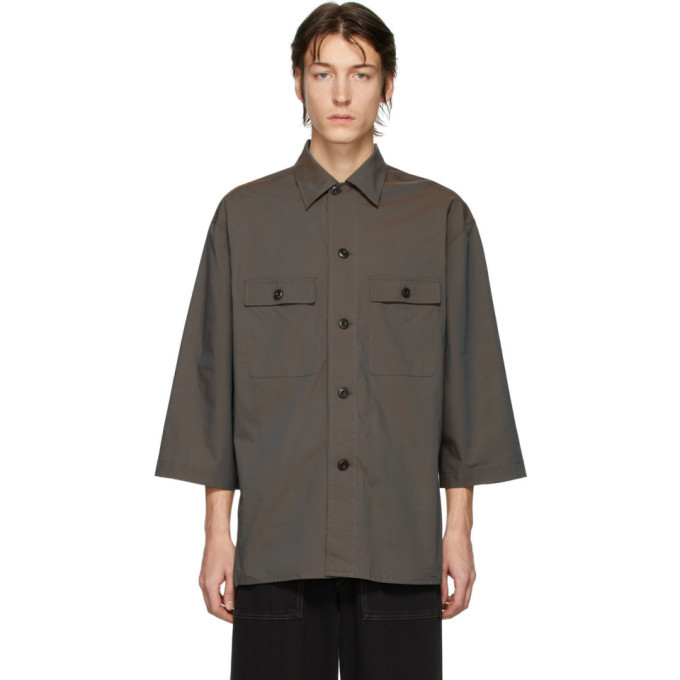 Photo: Lemaire Brown Three-Quarter Sleeve Tropical Shirt