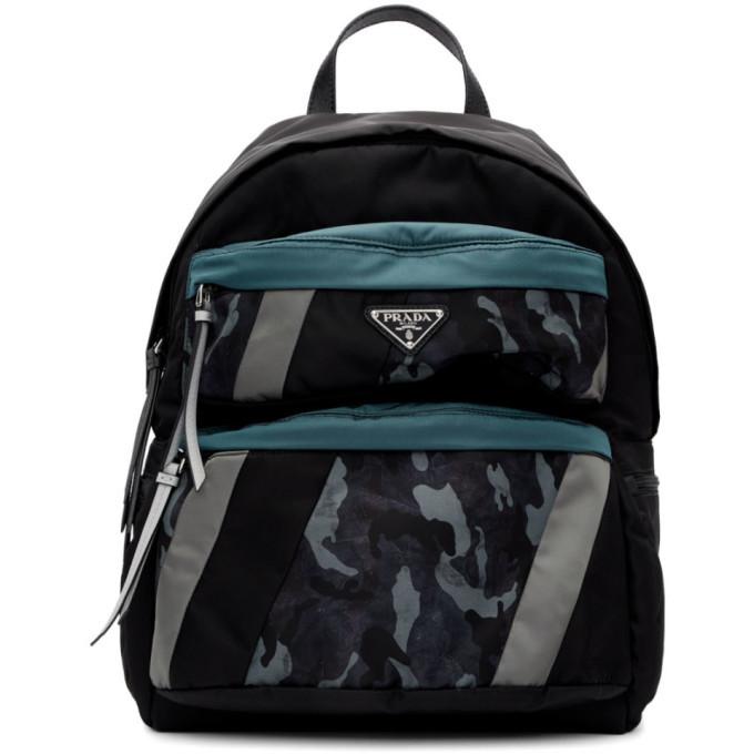 Photo: Prada Black and Blue Camouflage Backpack