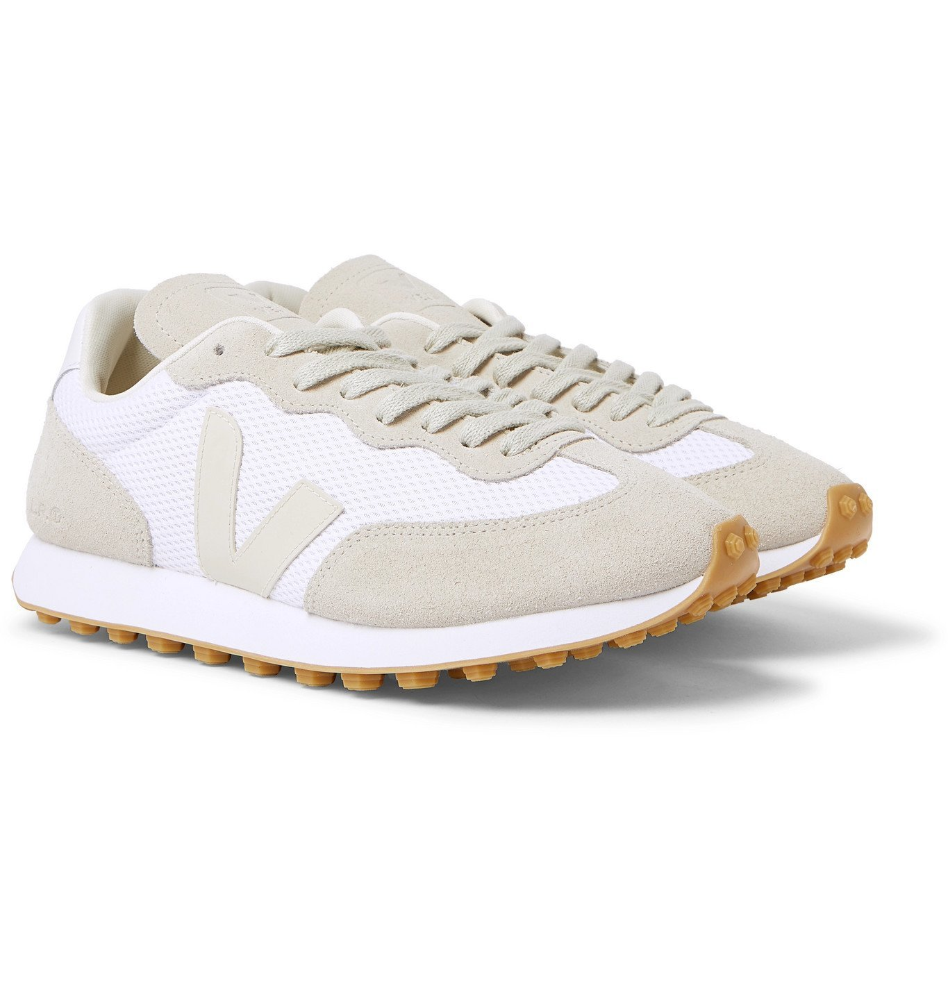 Photo: Veja - Rio Branco Leather-Trimmed Suede and Alveomesh Sneakers - White