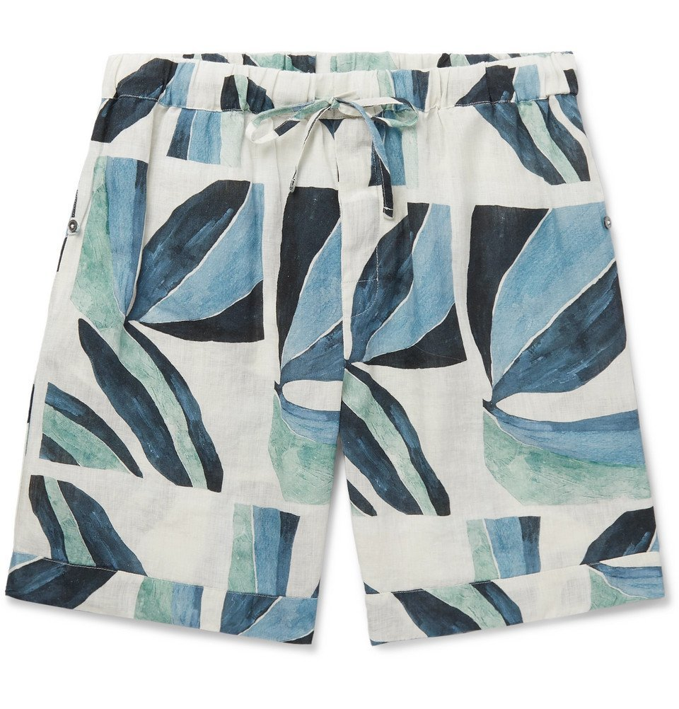 Photo: Desmond & Dempsey - Printed Linen Pyjama Shorts - Blue