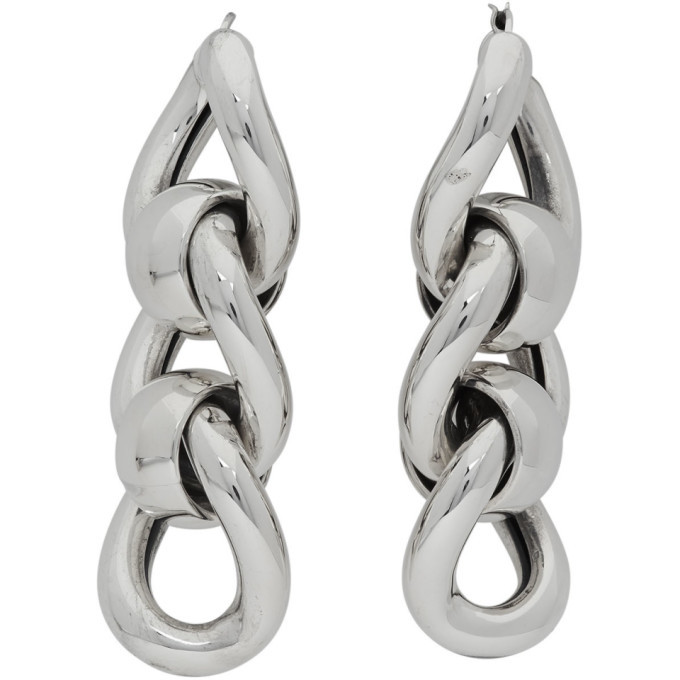 Photo: Bottega Veneta Silver Triple Link Earrings