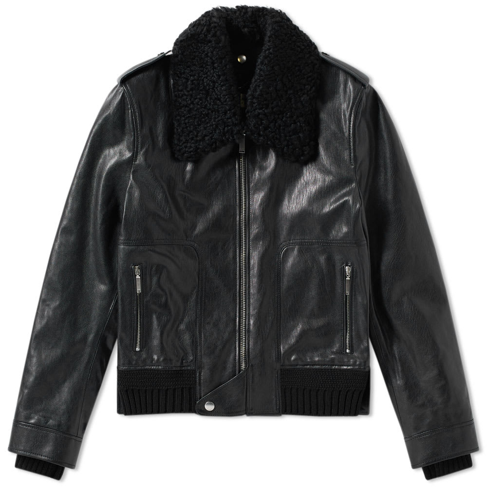 Photo: Saint Laurent Shearling Collar Leather Jacket