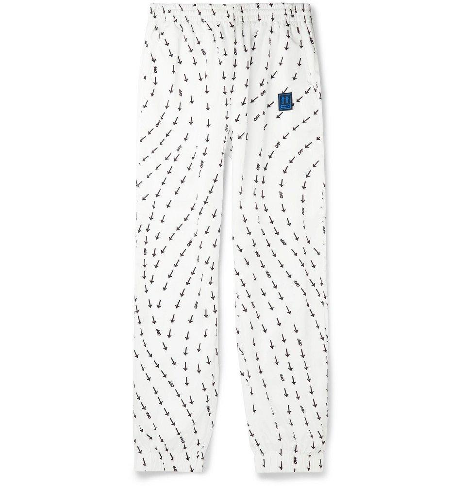 Photo: Off-White - Slim-Fit Tapered Logo-Print Shell Track Pants - White