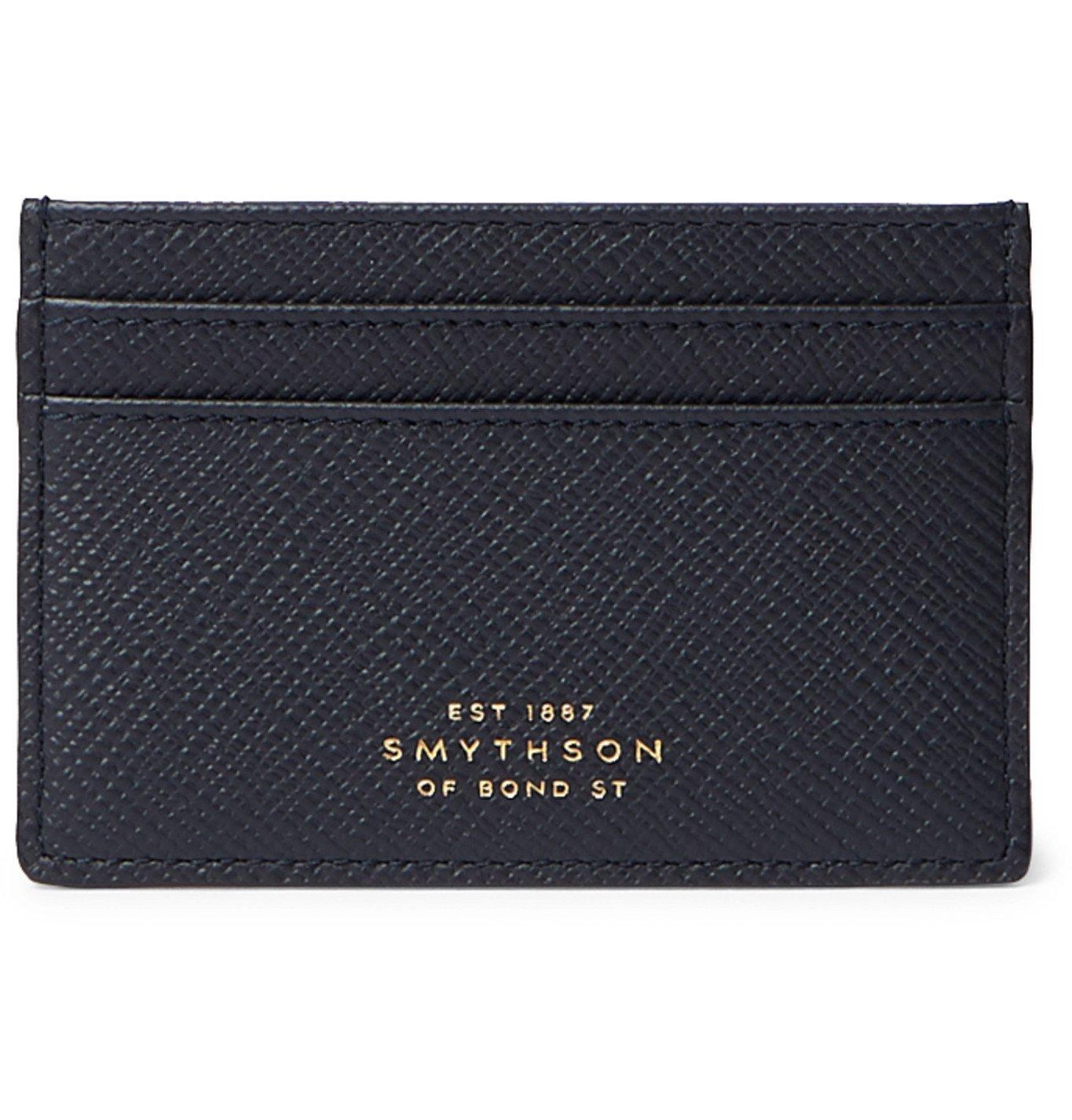 Smythson - Panama Cross-Grain Leather Cardholder - Blue