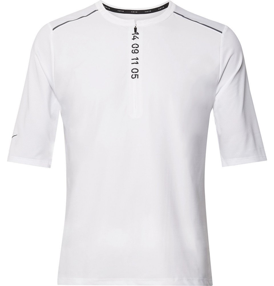 Nike Running - Tech Pack Printed Stretch-Jersey and Mesh Half-Zip Top - White