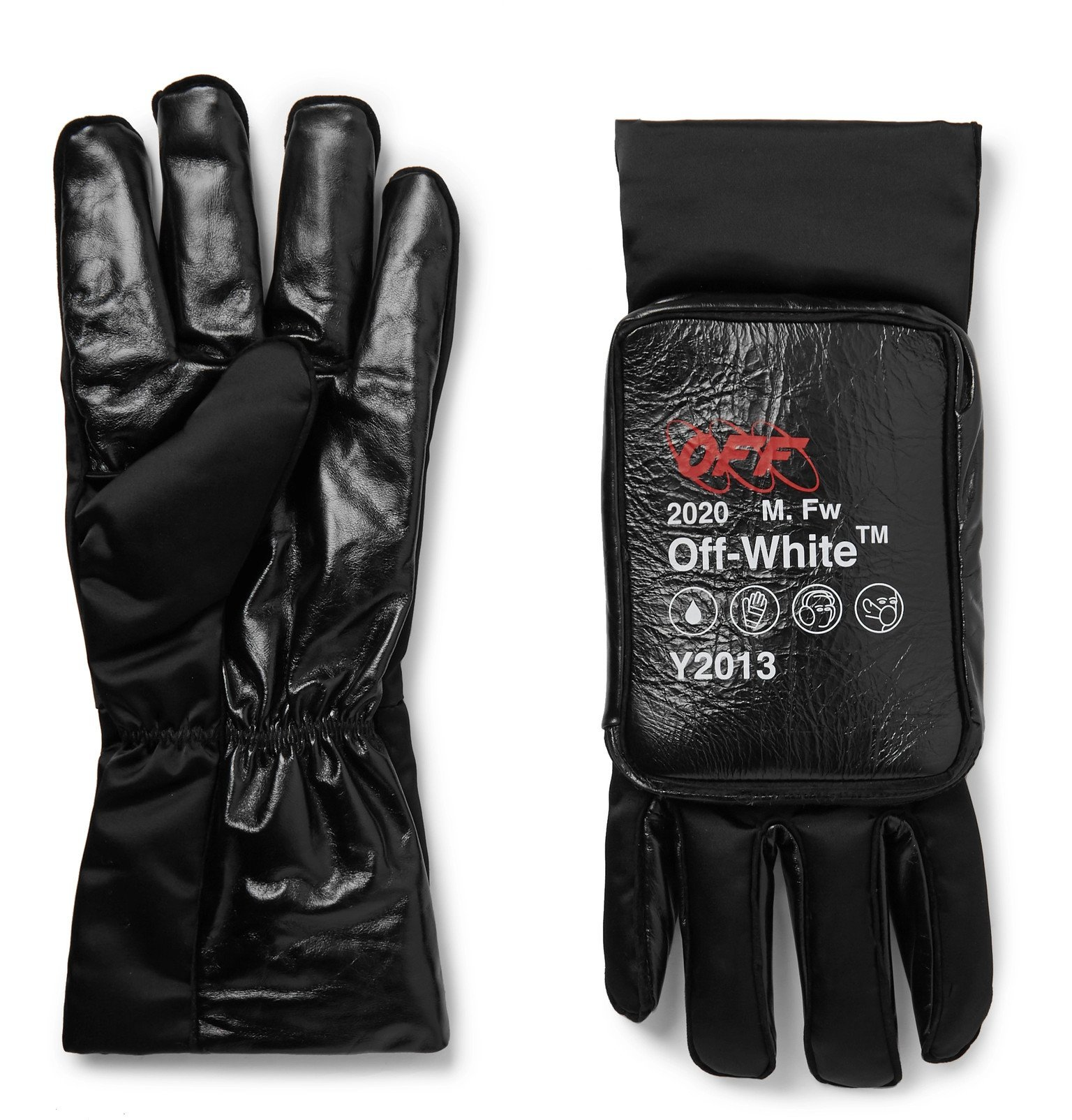 Photo: Off-White - Printed Nylon and Leather Gloves - Black