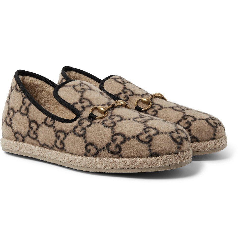 Photo: Gucci - Horsebit Logo-Print Merino Wool Loafers - Brown