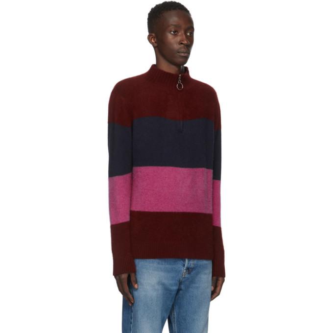 The Elder Statesman Burgundy and Multicolor Three Block Half-Zip Sweater
