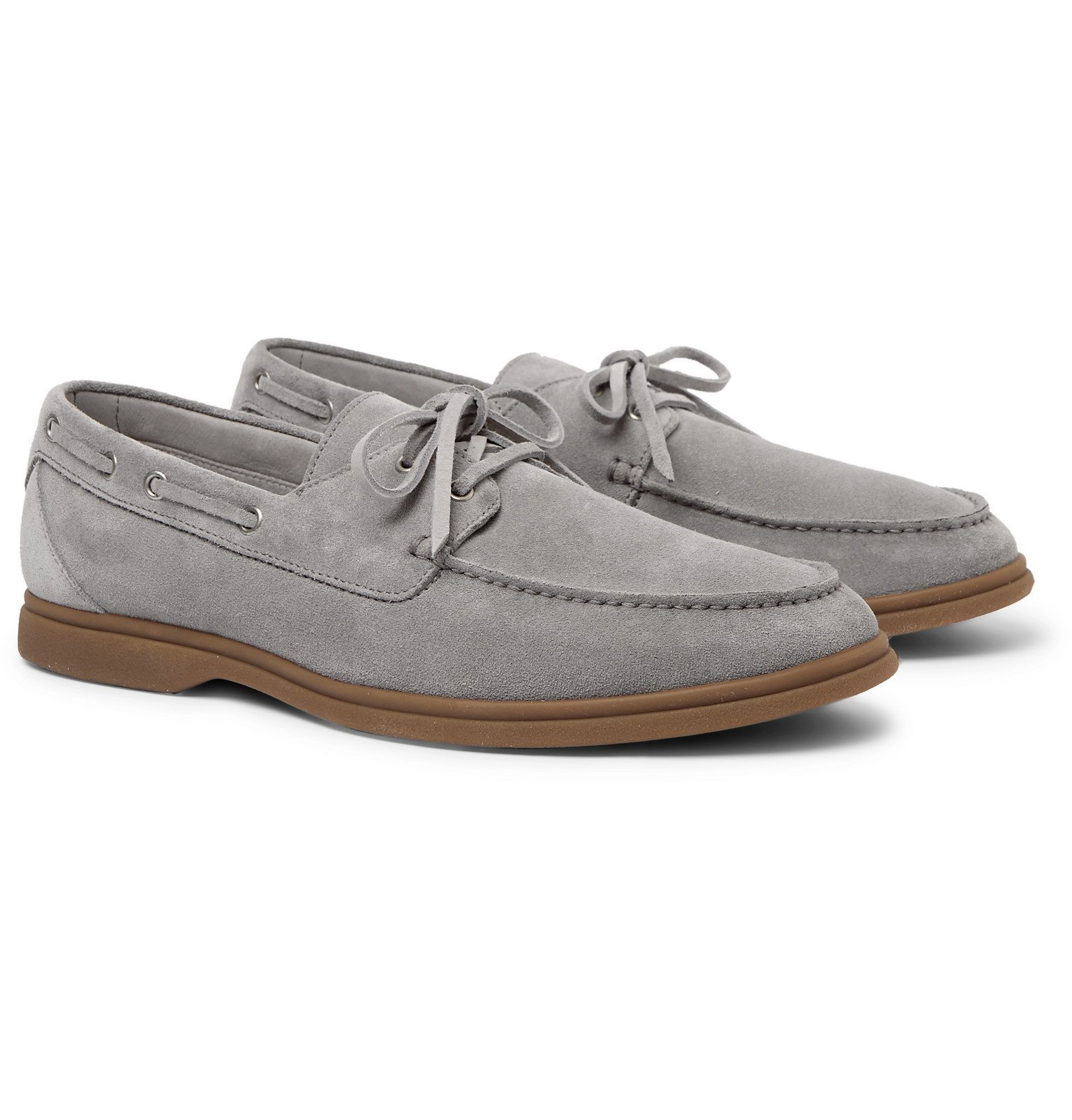 Photo: Brunello Cucinelli - Suede Boat Shoes - Gray