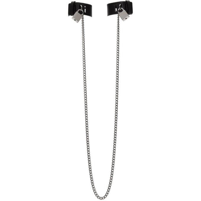 Photo: Fleet Ilya SSENSE Exclusive Black Arca Edition Tormenta Chain Padlock Cuffs