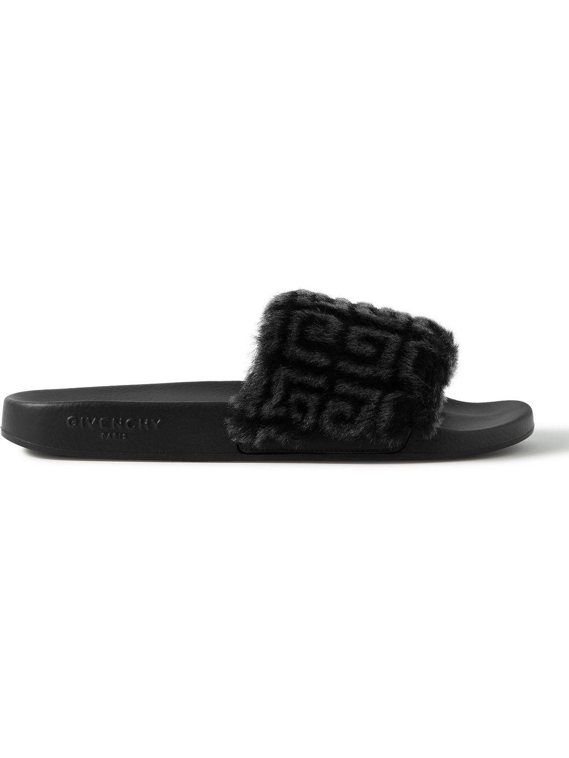 Photo: Givenchy - Printed Shearling and Rubber Slides - Black