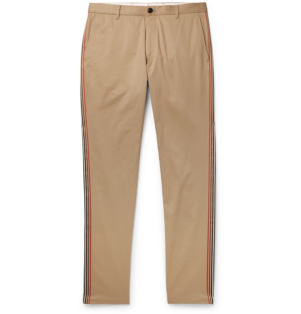 Photo: Burberry - Slim-Fit Grosgrain-Trimmed Cotton-Twill Chinos - Camel