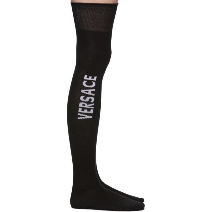 Photo: Versace Black Ruffle Over-The-Knee Socks
