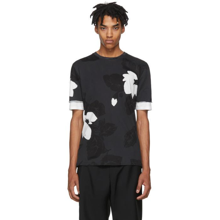 3.1 Phillip Lim Black Floral Double Sleeve T-Shirt
