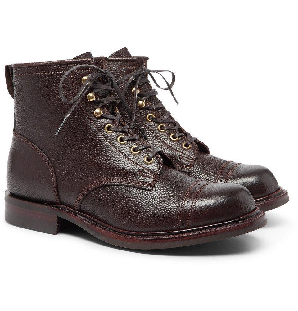 RRL - Bowery Pebble-Grain Leather Boots - Men - Brown