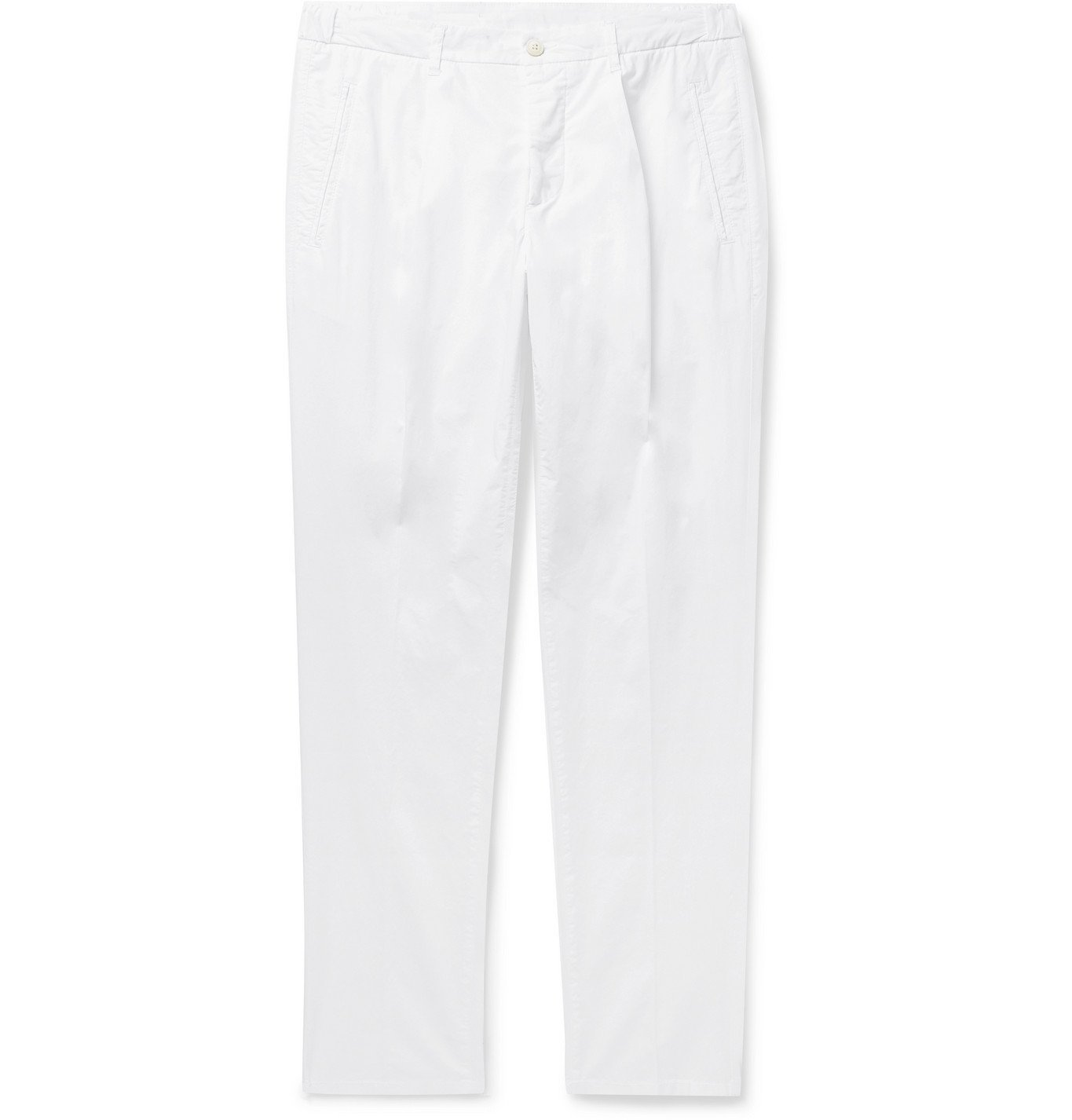 Photo: Altea - Tapered Pleated Stretch-Cotton Trousers - White