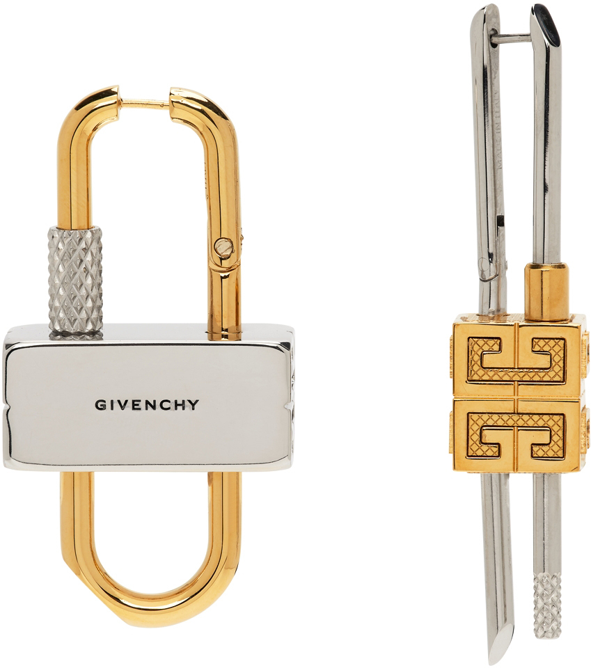 Photo: Givenchy Silver & Gold Lock Earrings