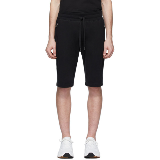 Photo: Dolce and Gabbana Black Plaque Lounge Shorts