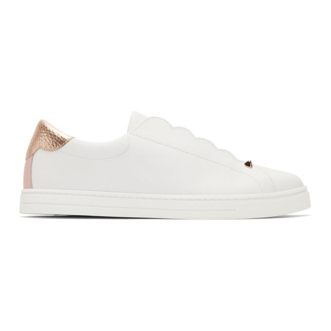 Fendi White Knit Logo Scallop Sneakers