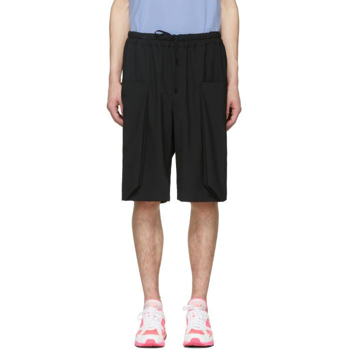 Photo: Comme des Garçons Homme Plus Black Wool Layered Pockets Shorts