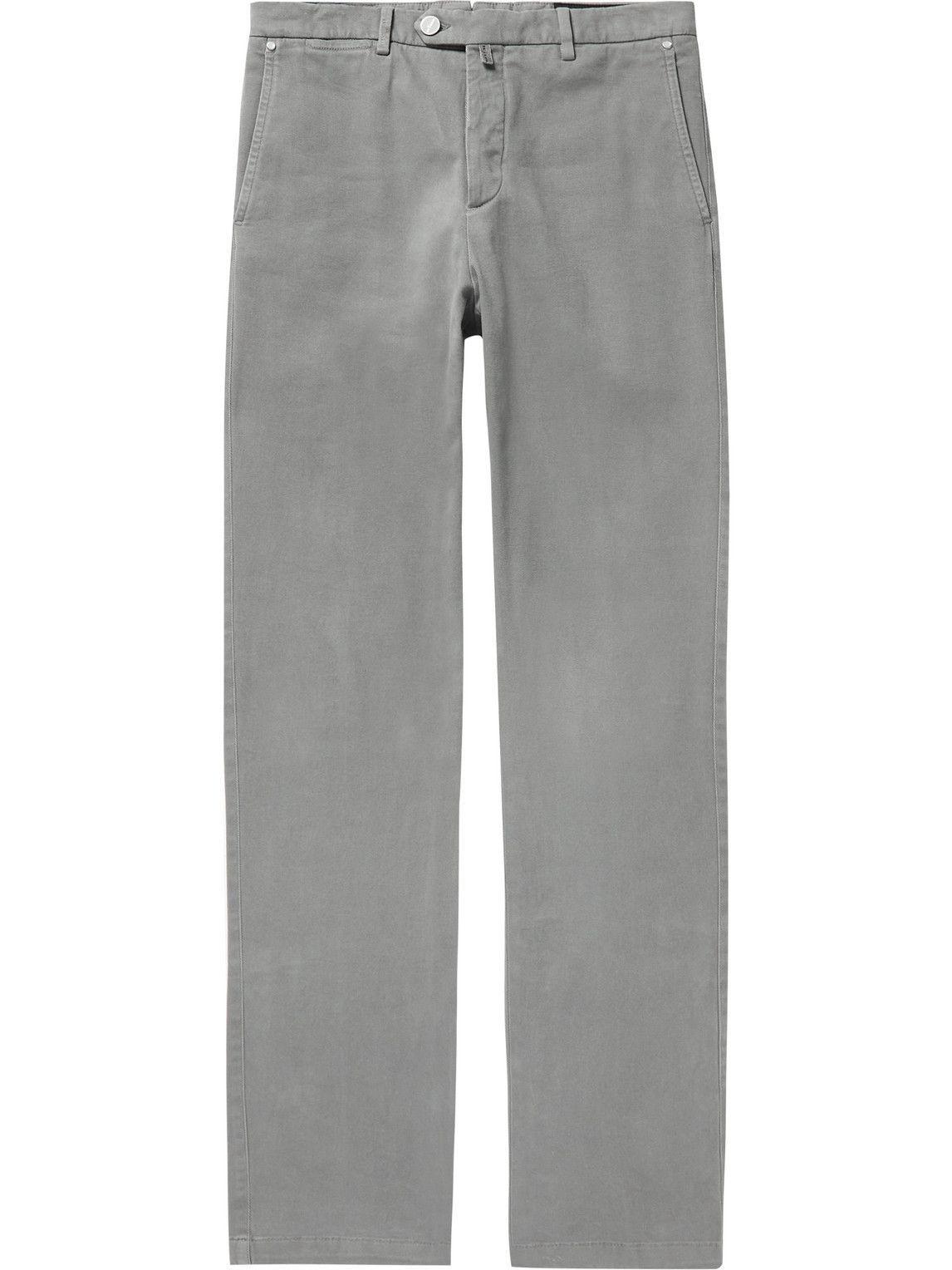 Photo: Kiton - Straight-Leg Stretch-Cotton Twill Trousers - Gray