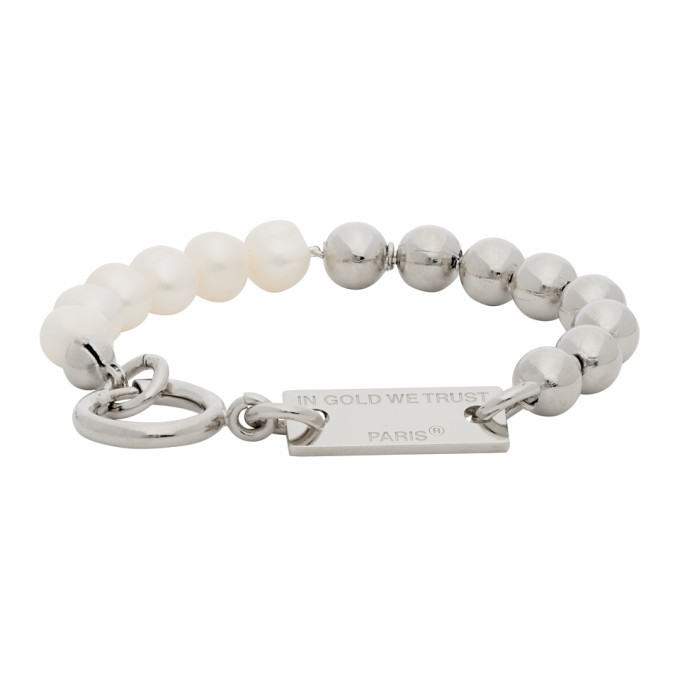 Photo: IN GOLD WE TRUST Silver Ball Chain and Pearls Bracelet