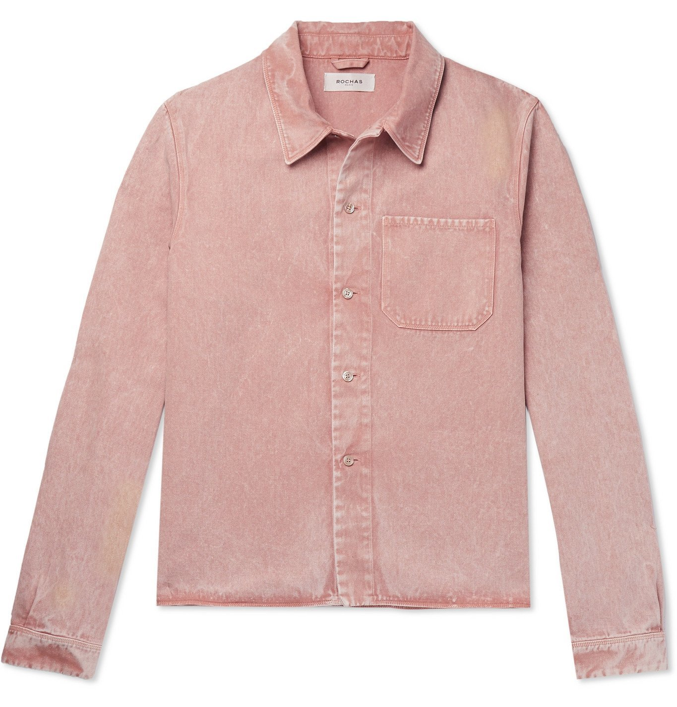Photo: Rochas - Marble-Dyed Cotton and Linen-Blend Shirt Jacket - Pink