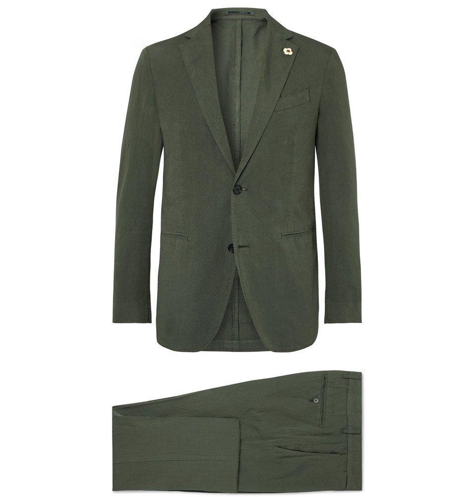 Photo: Lardini - Olive Slim-Fit Stretch Cotton and Linen-Blend Suit - Green
