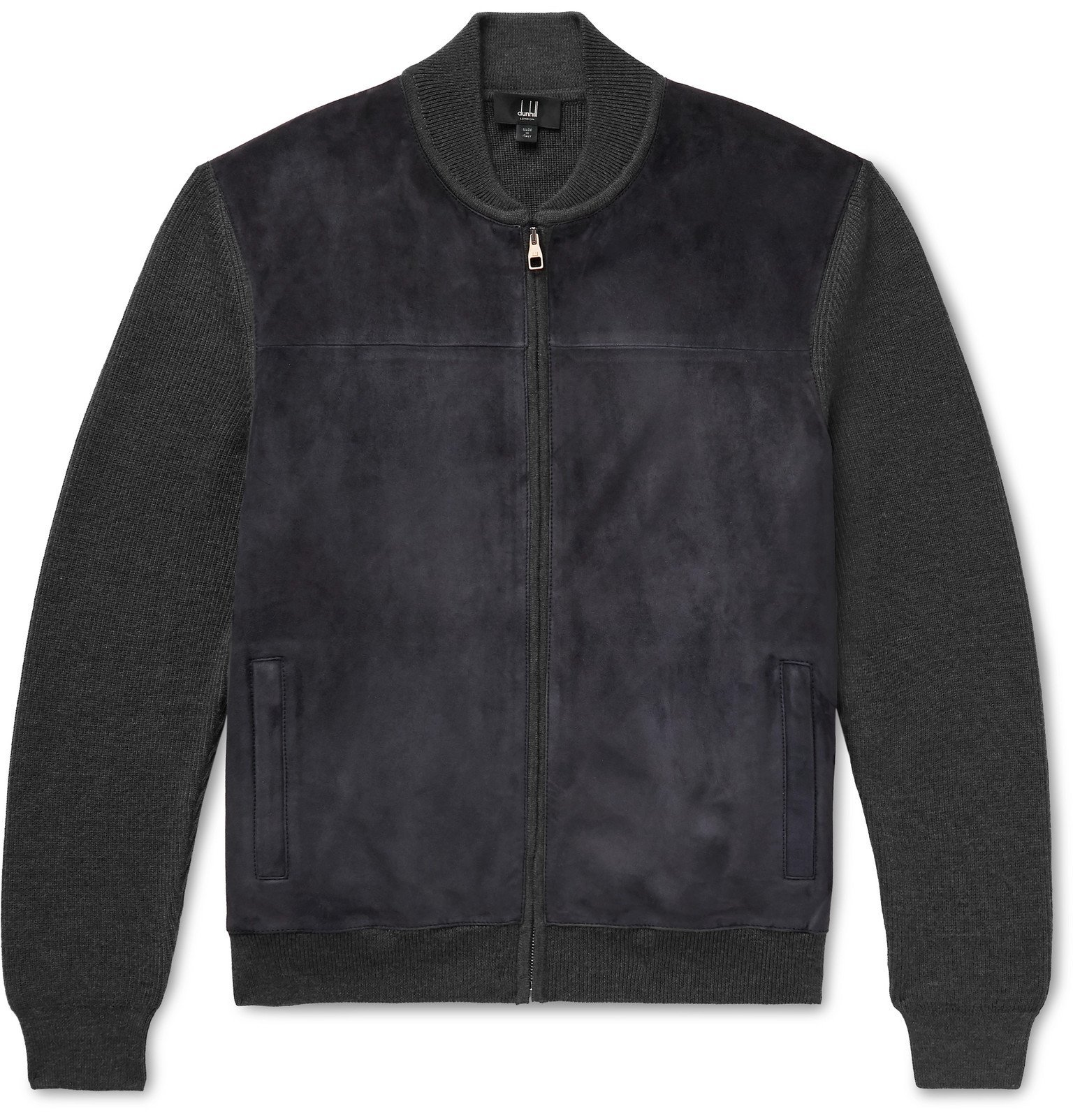 Dunhill - Suede-Panelled Ribbed Merino Wool Bomber Jacket - Blue