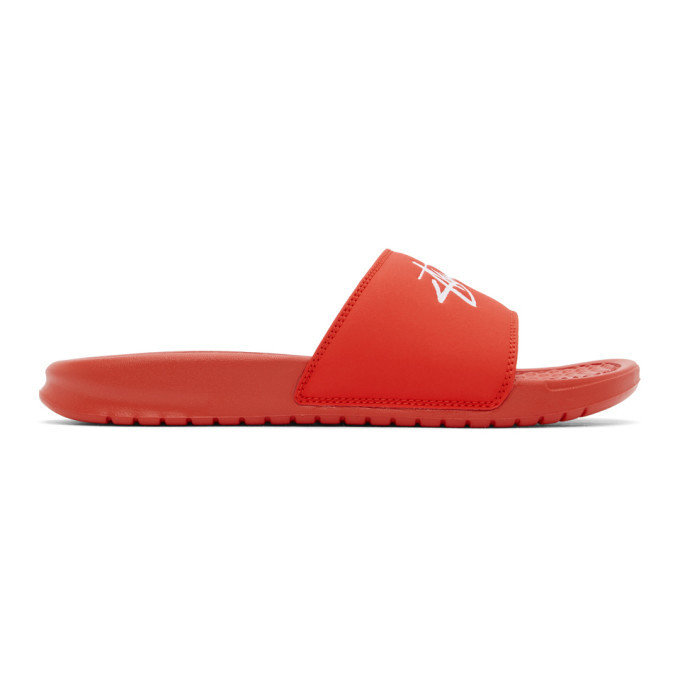 Photo: Nike Red Stussy Edition Benassi Sandals