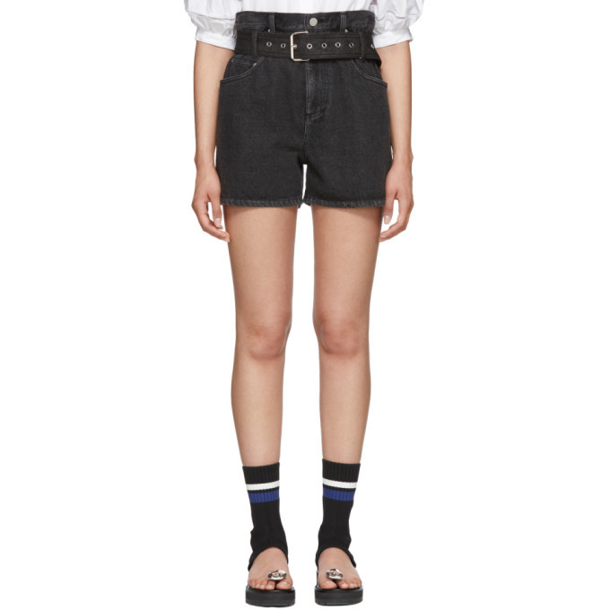 3.1 Phillip Lim Black Denim Belted Paper Bag Shorts