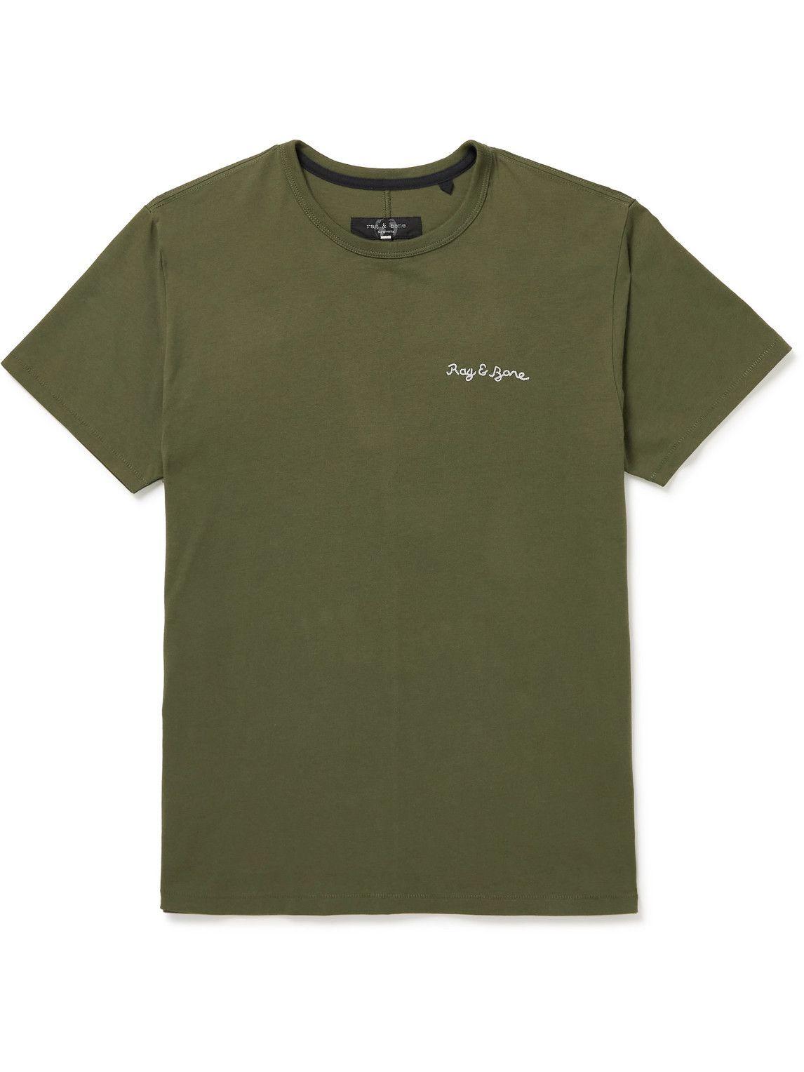 Photo: Rag & Bone - Principle Logo-Embroidered Organic Cotton-Jersey T-Shirt - Green